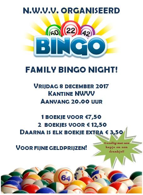 8 december Bingo in de kantine van NWVV