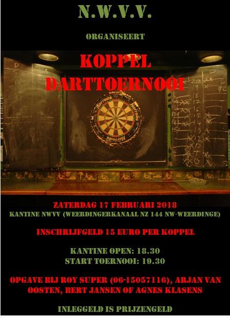 Nog twee plaatsten vrij voor koppel darttoernooi