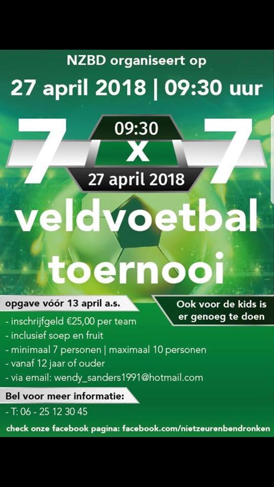 7×7 voetbaltoernooi op vrijdag 27 april in Nieuw-Weerdinge