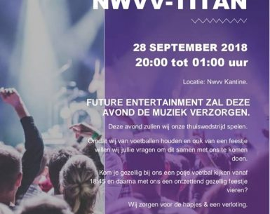 Vrouwen 3 NWVV/Titan geven 28 september feestavond