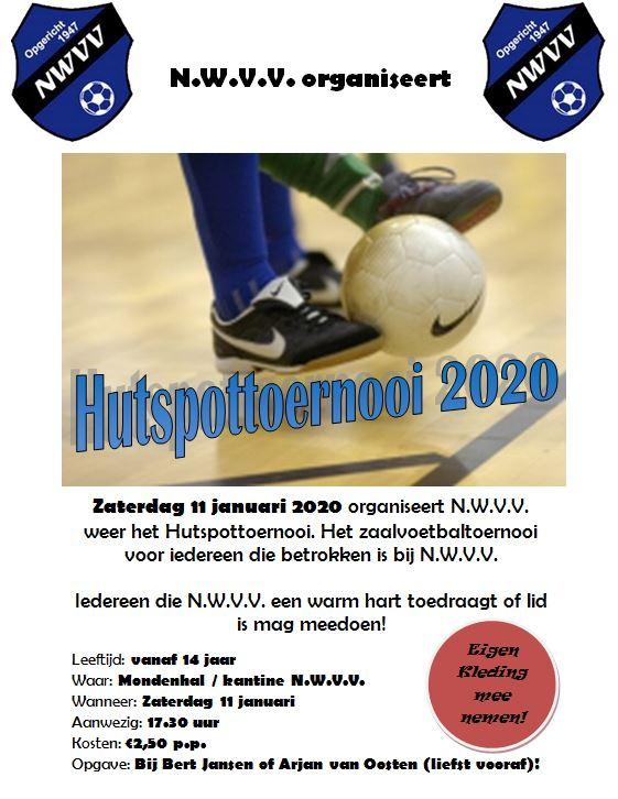 Zaterdag 11 januari Hutspot toernooi in de Mondenhal