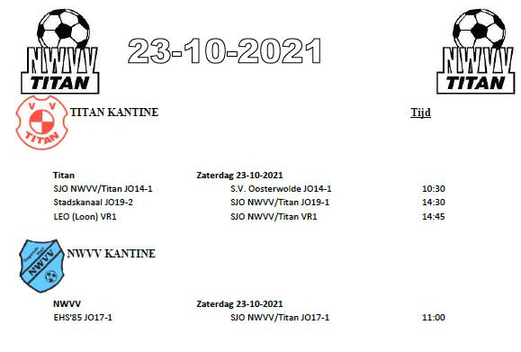 Programma NWVV/Titan jeugd zaterdag 23 oktober