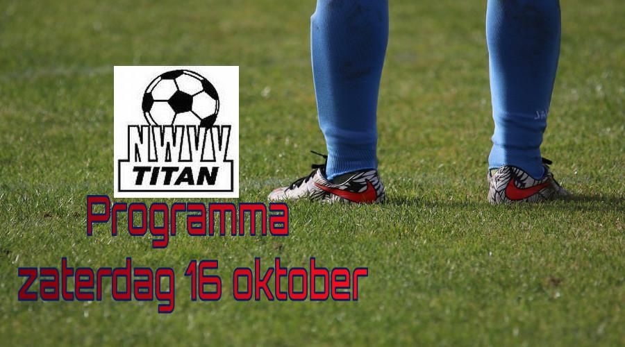 Programma NWVV/Titan jeugd zaterdag 16 oktober